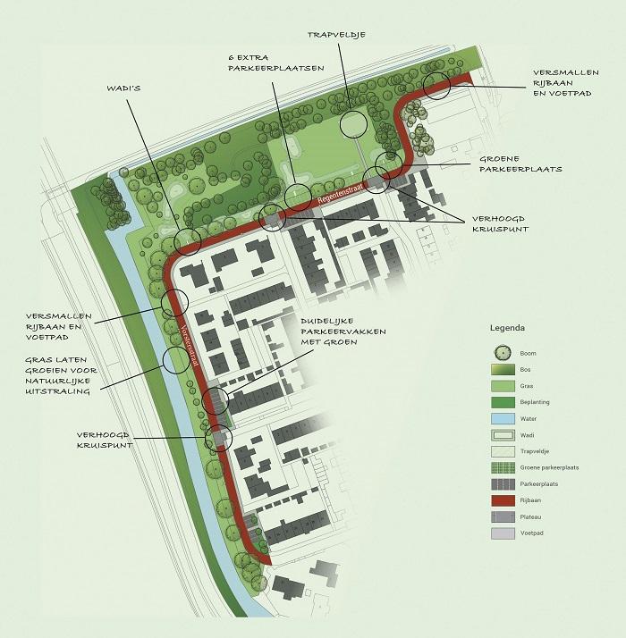Een kaart van de Regentenstraat en Vostersstraat